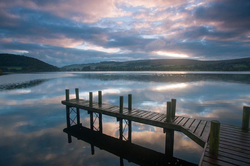 Lake District Ullswater Beauty In Nature Cloud - Sky Idyllic Jetty Lake Mountain Nature No People Non-urban Scene Outdoors Railing Reflection Scenics - Nature Sky Sunset Tranquil Scene Tranquility Ullswater, Lake District, Water Waterfront Wood - Material