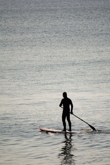 Silhouette Man Paddleboarding In Sea