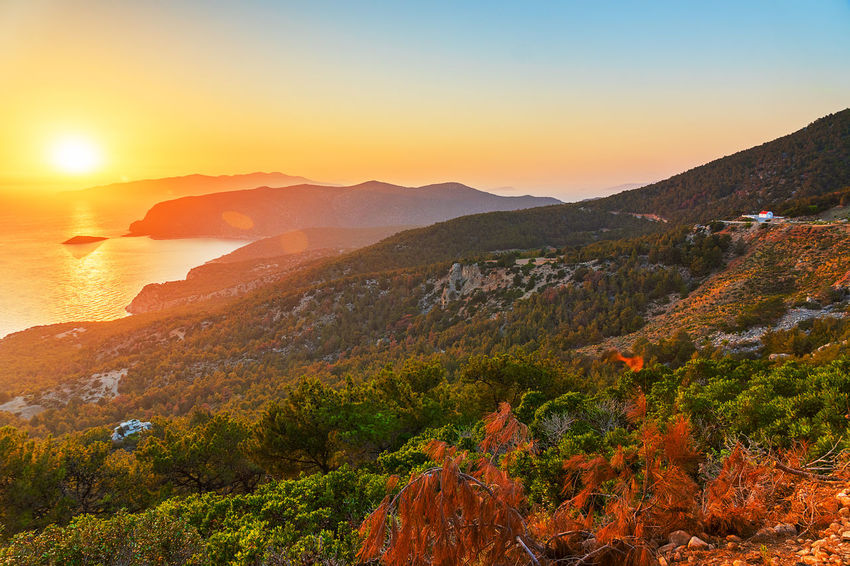 Beauty In Nature Clear Sky Day Greece Idyllic Landscape Monolithos Mountain Mountain Range Nature No People Orange Color Outdoors Rhodes Scenics Sky Sunlight Sunset Tranquil Scene Tranquility Tree