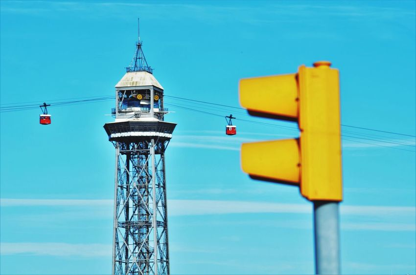 Funicular Barcelona Cityscape From My Point Of View Eye4photography  Industrial Landscapes Architecture Built Structure Sky Tower Nature Blue No People Low Angle View Building Exterior Outdoors Day Travel Clear Sky