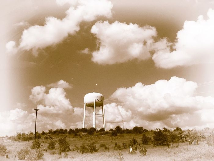 Smiley face on water tower