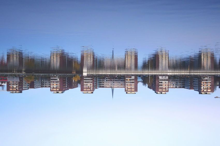 Time for a Sunday_flip . 180° Reflection Water Reflections My Fuckin Berlin AMPt_community EyeEm Masterclass Shootermag Eye4photography  Water Lake Symmetry Standing Water Outdoors No People Clear Sky Tranquility Day Nature Sky Embrace Urban Life The Architect - 2017 EyeEm Awards Discover Berlin