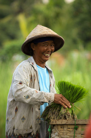 Smiling Cheerful Rural Scene Farmer Working Happiness Senior Adult Agriculture Asian Style Conical Hat Hat