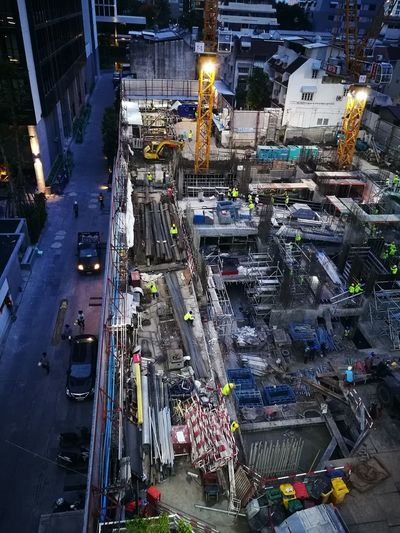 High angle view of construction site in city