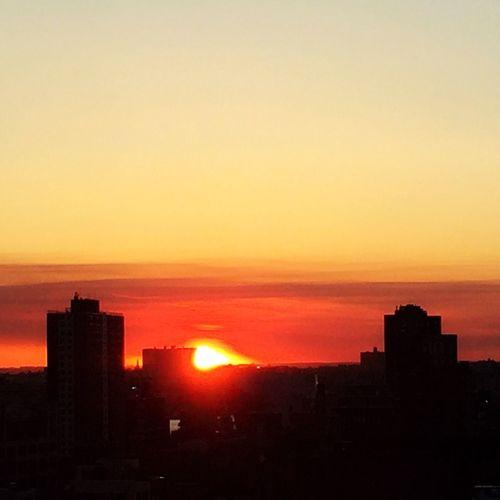 NYC Sunset NYC Photography Sunset Sunset #sun #clouds #skylovers #sky #nature #beautifulinnature #naturalbeauty #photography #landscape Orange Sky Sun Earth Fiery Sunset...