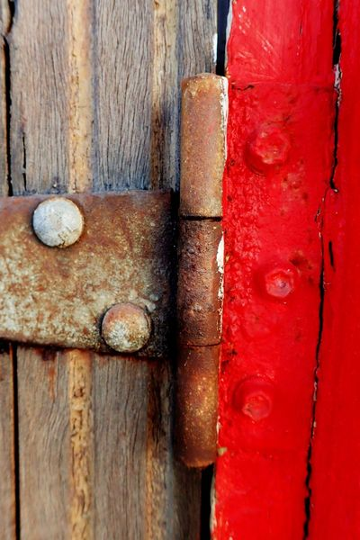 Backgrounds Close-up Colour Of Life Detail Full Frame Lock Metallic Old Red Rusty Safety Security Textured  Two Tone Weathered Wood Wood - Material Bolts And Nuts Hinges Door Hinge Eyeemphoto TakeoverContrast Protection Minimal Minimalist Break The Mold BYOPaper! The Week On EyeEm