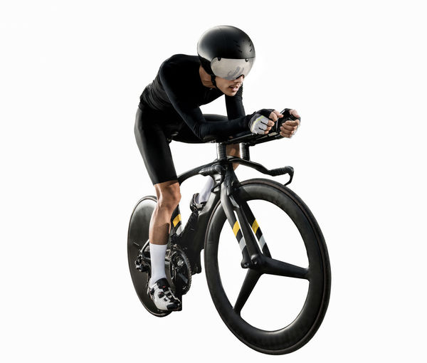 Bicycle Crash Helmet Cut Out Cycling Helmet Full Length Headwear Helmet Indoors  Lifestyles Men Mode Of Transportation One Person Profile View Protection Riding Security Sport Sports Equipment Sports Helmet Studio Shot Transportation White Background