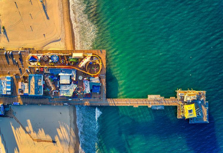 High angle view of ship moored at sea