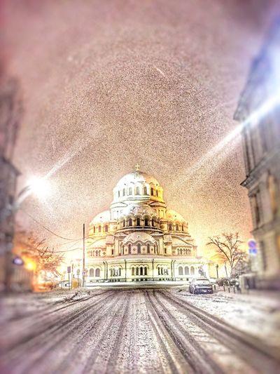 Sofia, Bulgaria Sofia By Night Snowing City Night