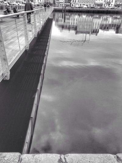 Bridge Lines Urban Geometry Reflection Water Normandie Streetphotography