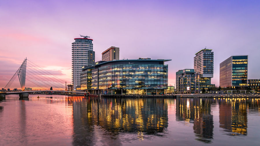 Manchester Media Mediacityuk Architecture Building Building Exterior City Cityscape Dusk Illuminated Modern No People Office Building Exterior Purple Reflection Sky Sunset Water Waterfront