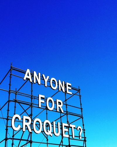 Blue Sky Lookingup Looking Up Sign Croquet Big Signs Yard Games Fun Outdoor Games Festival Fringe Scaffold Scaffolding Urban Urban Geometry Pastel Power Time For Fun