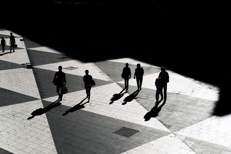 High angle view of people on walkway