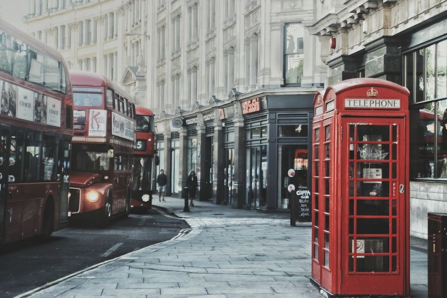 Architecture Building Exterior Built Structure City City Life City Street Commercial Sign Communication Day Doubledecker Doubledeckerbus London Streets Narrow Outdoors Public Transport Red Street Telephone Booth Telephone Box The Way Forward Western Script