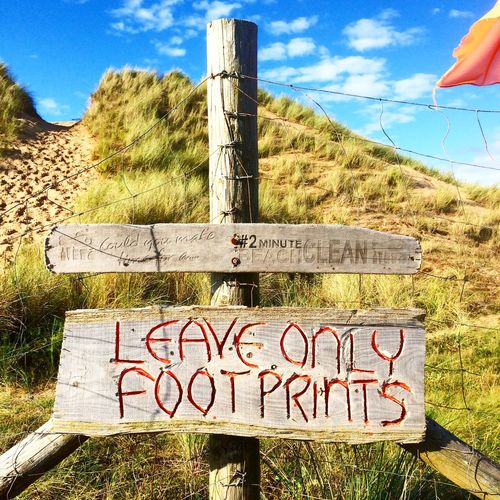 Wales Llangennith Summer Beach Footprints Sign Clean Sand Sky
