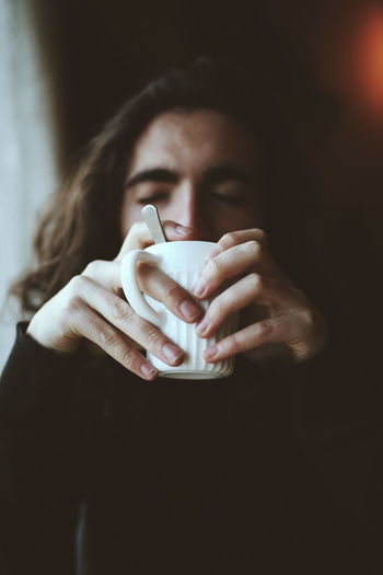 Cold, Coffee, Cozy. Boy Man Coffeeshop Nice Cozy Women Young Women Beautiful Woman Teabag Cold And Flu Caffeine Espresso Nose Hot Drink Latte Cafe Macchiato Herbal Tea Mocha Cappuccino Fever First Eyeem Photo