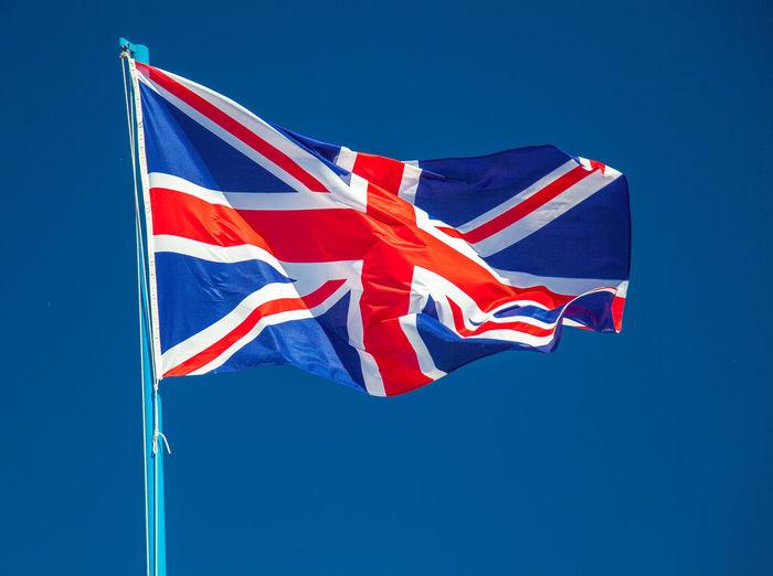 British flag waving against clear sky