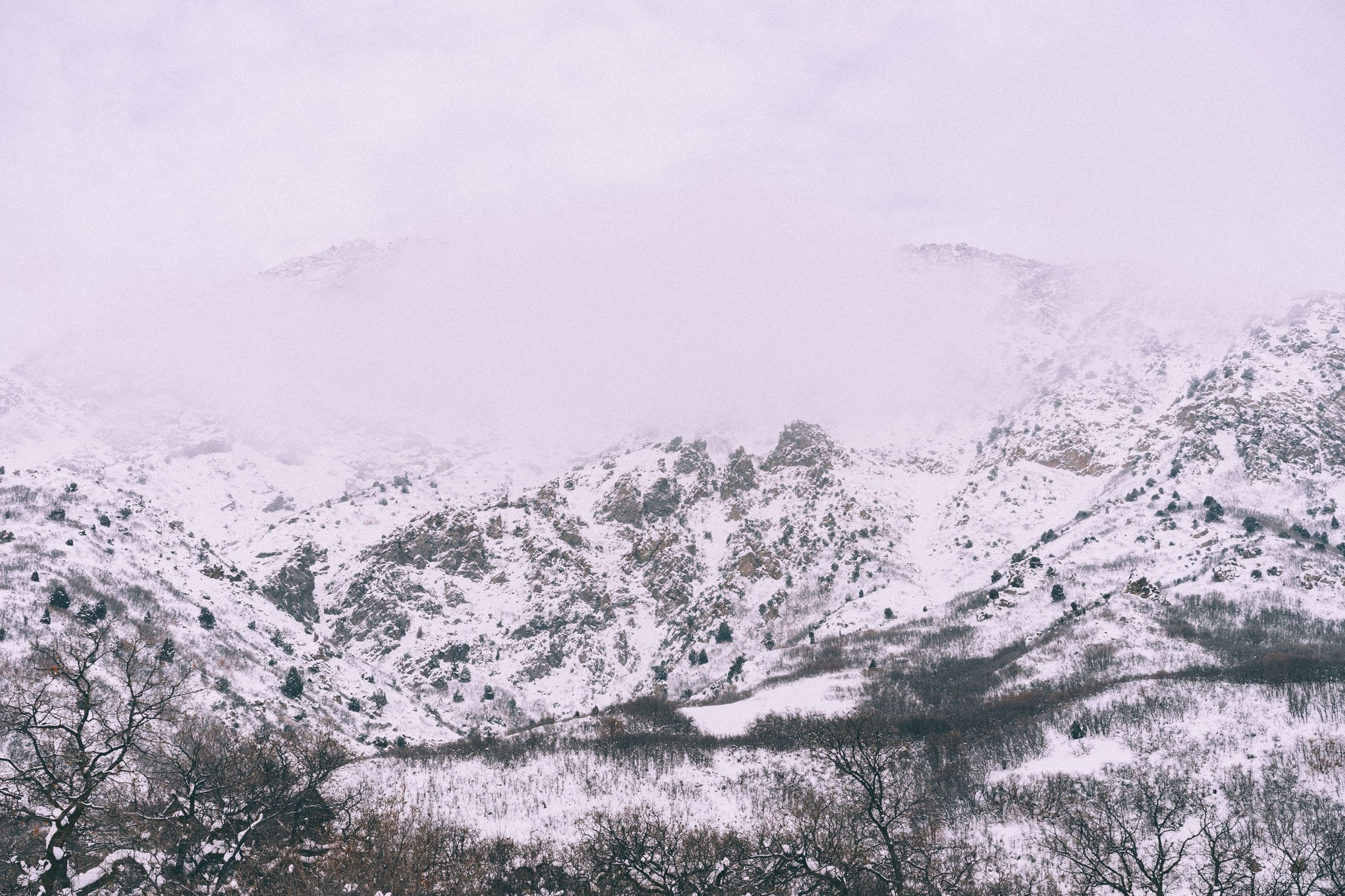 snow, winter, cold temperature, weather, season, tranquility, tranquil scene, scenics, beauty in nature, covering, frozen, mountain, nature, white color, landscape, snowcapped mountain, non-urban scene, high angle view, snowcapped, fog