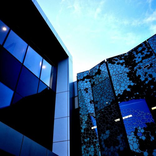Building Exterior Outdoors Modern City Glass - Material JustP9 Taking Photos Architecture Blue No People Low Angle View Built Structure Sky Day