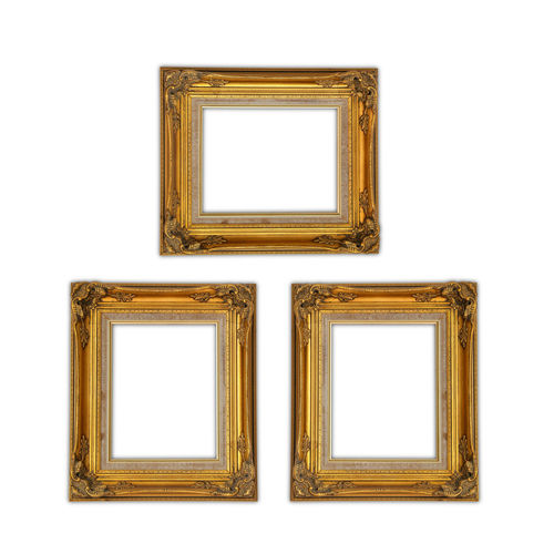 Gold frame isolated on white background. Antique Art And Craft Art Museum Blank Copy Space Cut Out Empty Exhibition Frame Gold Colored Indoors  Museum No People Ornate Paintings Picture Frame Rectangle Single Object Wall - Building Feature White Background White Color Wood - Material