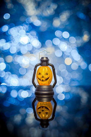 The halloween pumpkin Halloween Close-up Focus On Foreground Illuminated Indoors  Lighting Equipment No People Reflection Yellow
