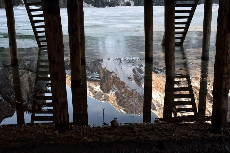 Pier reflection in pragser wildsee