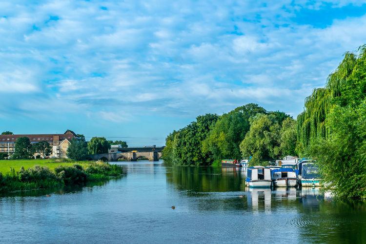 Boats along river bank