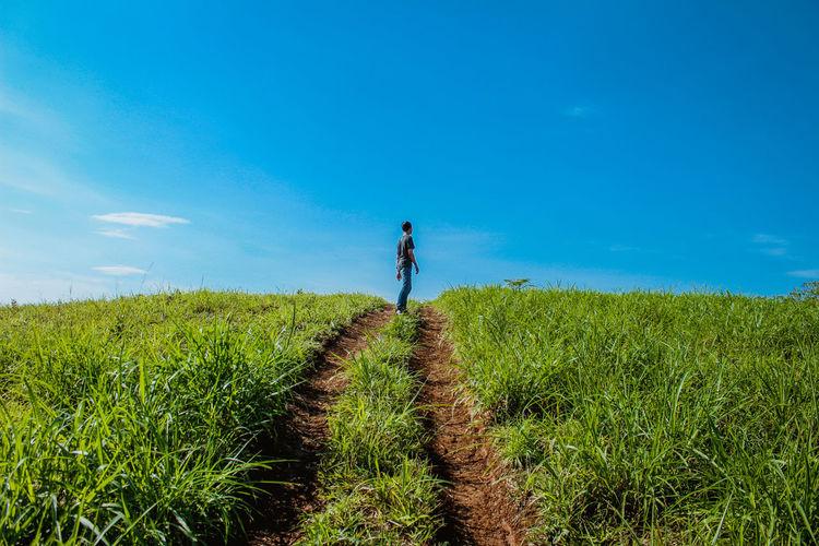 Man walking on field against blue sky