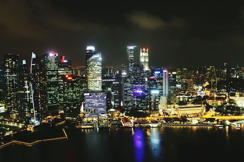 Skyscraper Night Cityscape Architecture Illuminated Urban Skyline No People Travel Destinations Modern Downtown District City Life Singapore High Angle View Aerial View Modern Cityscape