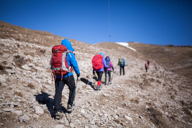 Arid Climate Full Length Mountain Desert Hiking Women Adventure Rear View Rural Scene Sand