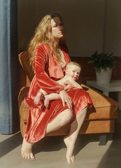Mother and girl at home