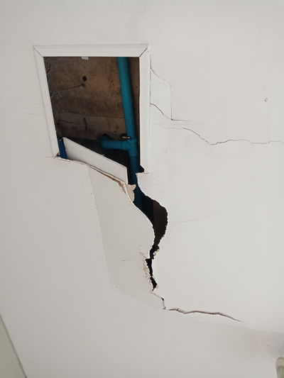 the ceil was cracked Full Length Men Architecture Peeling Off Damaged Paint Broken