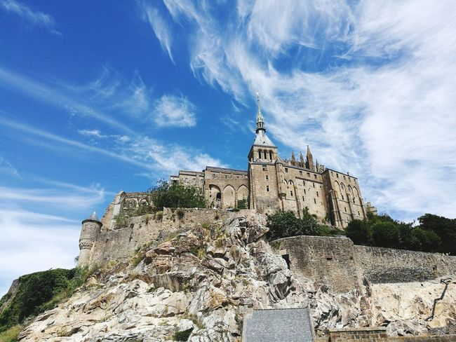 Mont St. Michel History Architecture Travel Destinations Cloud - Sky Outdoors Blue Day No People Building Exterior France Tourism Island Abbey Built Structure HuaweiP9plus Leica Lens
