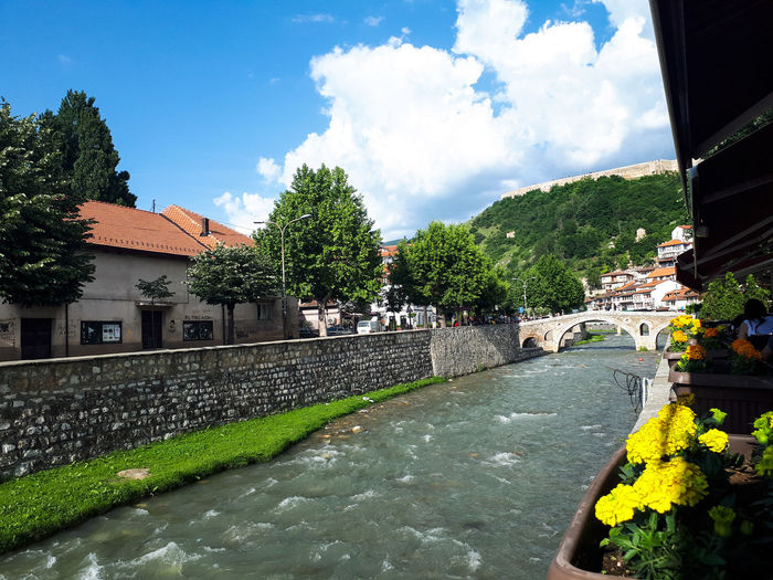 Summer Freshness Blu Water Natural Decoration White River Kosovo Travel Destinations Perfect View River Bridge Spring Stone Walkway Water Flower Roof House Sky Architecture Building Exterior Built Structure Cloud - Sky Roof Tile Rooftop Eaves Historic Temple TOWNSCAPE Town Attic