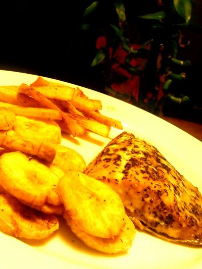 Taking Photos Check This Out Kansas What's For Dinner? Fishing Time Food Salmon Friedplantains Yummy!