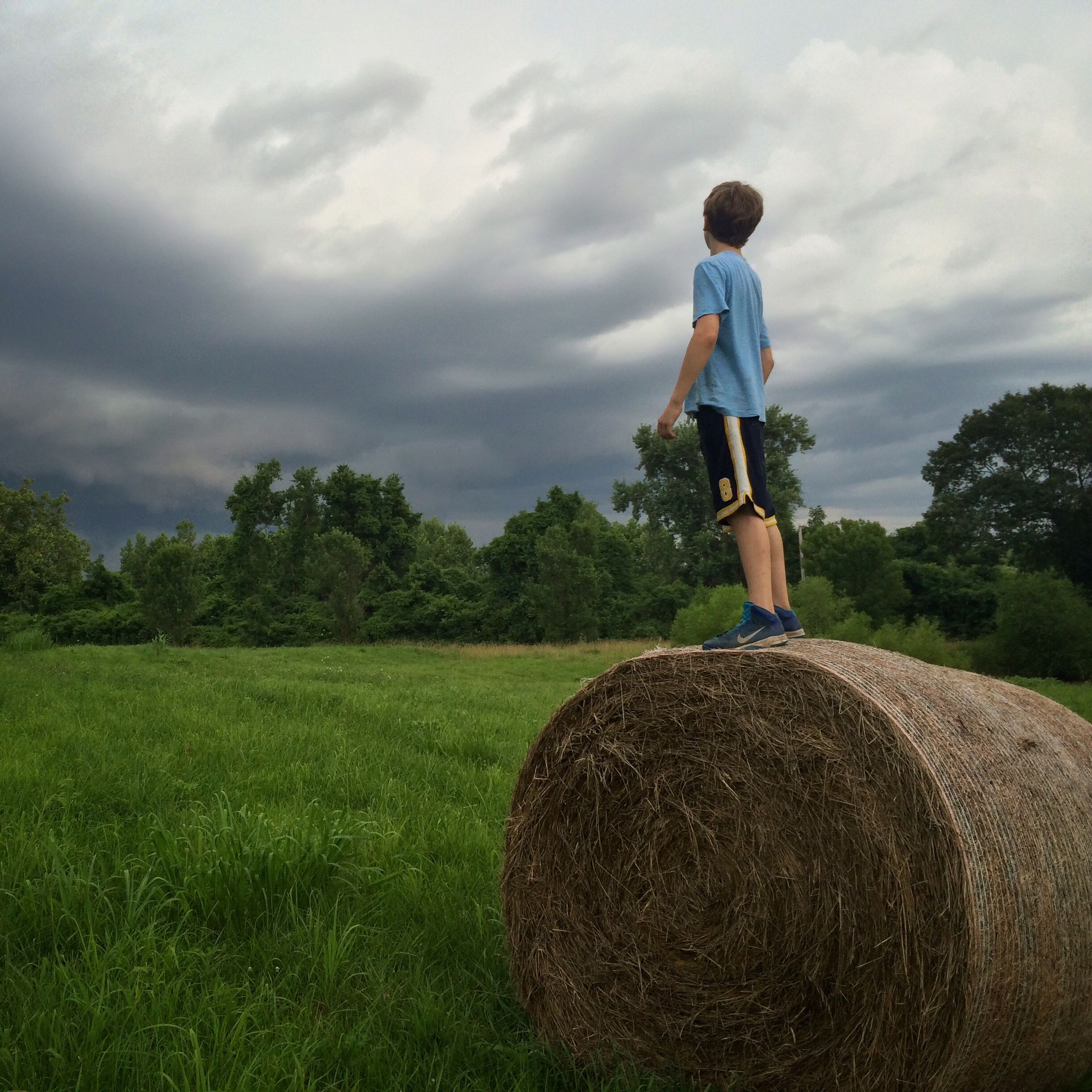 sky, lifestyles, grass, leisure activity, full length, cloud - sky, casual clothing, field, standing, rear view, tree, landscape, cloudy, cloud, childhood, men, green color, grassy