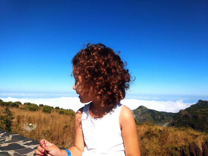 Nature Mountain Cloud - Sky Girl Children Pure Dandelion Pico Do Arieiro Madeira Madeira Island Tree Human Hand Young Women Summer Women Clear Sky Sky Tranquility Idyllic Calm Tranquil Scene Sun Scenics Moments Of Happiness 2018 In One Photograph