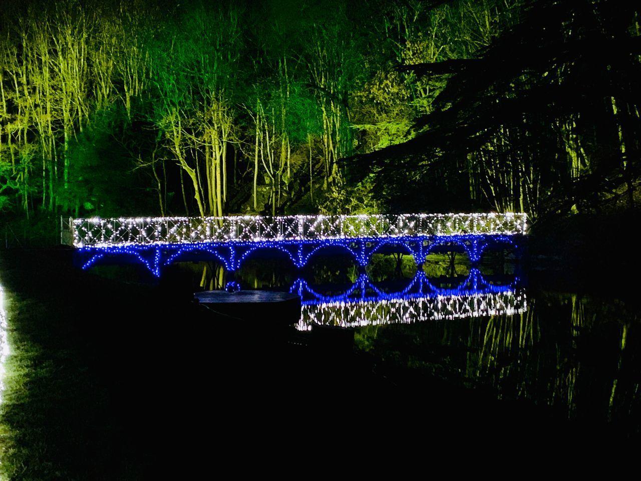 ILLUMINATED LIGHTS BY LAKE AT PARK