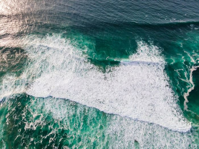 High angle view of wave on shore