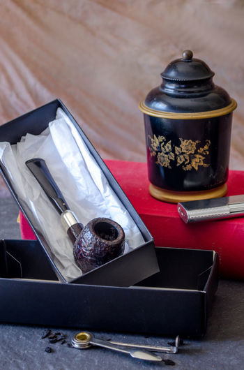 perfect gift for a pipe smoker, a new pipe and tools to go with Gift Box Manly Gift Antique Classic Humidor  Retro Smoking Addiction Addictions  Book Boxed Pipe Collection Gift For A Man Habit Lifestyles Lighter Pipe Pipe Tools Smoker Smoking Pipe Tobacco Product Tools Vintage Wood - Material