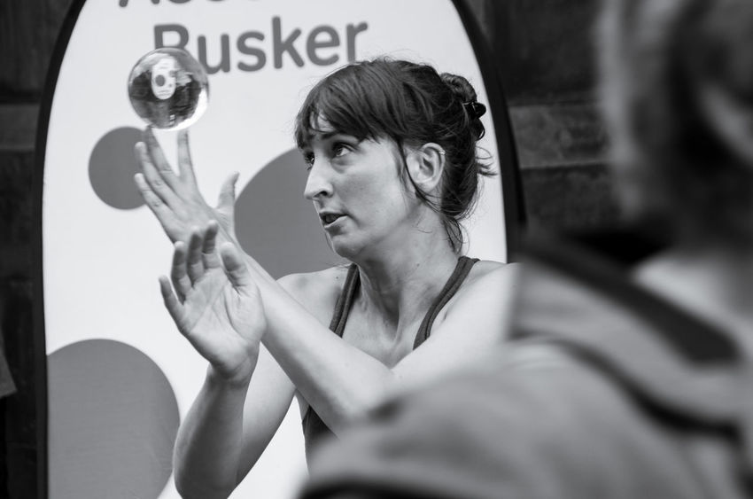 Arts And Culture City Edinburgh Edinburgh Fringe Portraits Scotland Balance Black And White Close-up Contact Juggler Crystal Day Edinburgh Festival Headshot Human Hand Monochrome One Person People Portrait Real People Text Theatre Young Adult Young Women