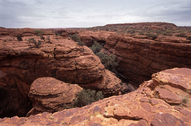 High angle view of rock formations at kings canyon