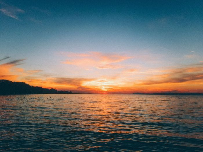 Sunset IPhone Beauty In Nature Outdoors Balaton Water Sky Sunset_collection Horizon Horizon Over Water Dusk Dusk Over A Lake Lake Lake View Orange Blue Beautiful Beautiful Nature