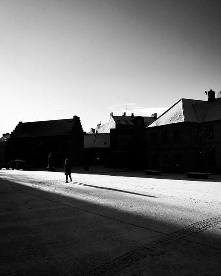Built Structure Architecture Silhouette Walking Real People Full Length Building Exterior Day Clear Sky One Person