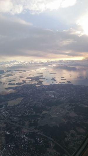 Aerial Shot Air Clouds And Sky Cloudy Dawn Finland From An Airplane Window Helsinki Sky Skyline Sun