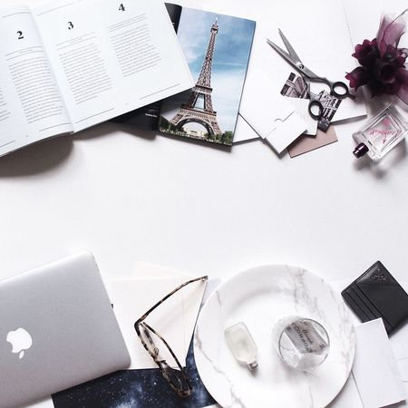 Wireless Technology Laptop Table Technology Indoors  High Angle View Directly Above No People Mobile Phone Paper Diary Close-up Day