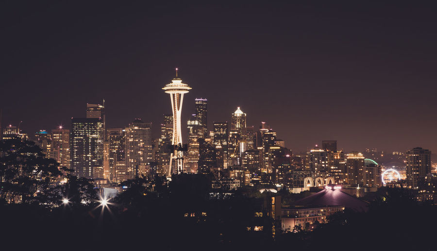 in the city City Connected By Travel Lights Space Needle Architecture Building Exterior Built Structure Landscape Night Outdoors Public Sky