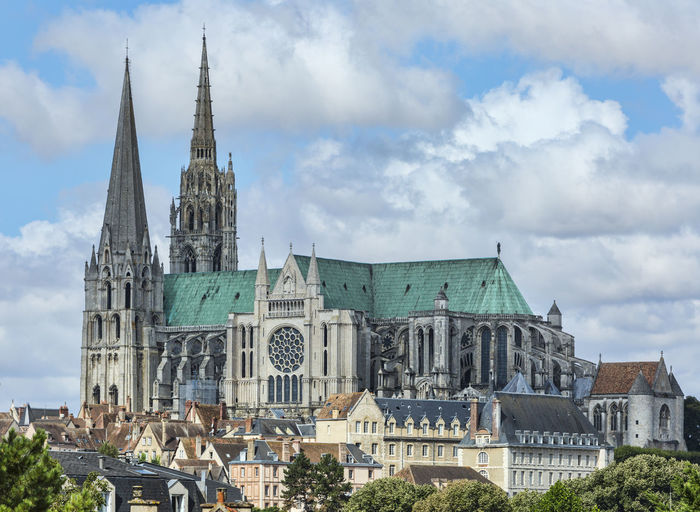 Chartres Cathedral Against Cloudy Sky