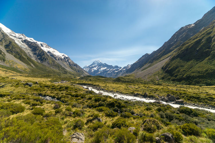 Scenic view of mountains at mount cook national park