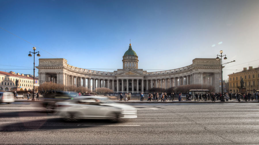 Nevsky Prospect Orthodox Orthodox Church Russia Saint Petersburg Politics And Government City Crowd Cityscape Blurred Motion Sky Architecture Built Structure Building Exterior Dome Cathedral